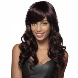 "22"" Virgin Remy Human Hair Full Net Cap Woman Long Curly Hair Wig with Bang Dark Brown"
