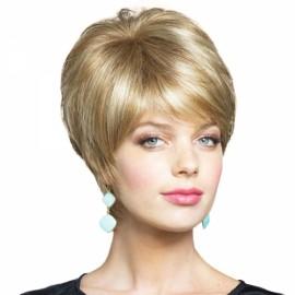 "6"" Virgin Remy Human Hair Full Net Cap Woman Short Straight Hair Wig with Bang Flax Golden"