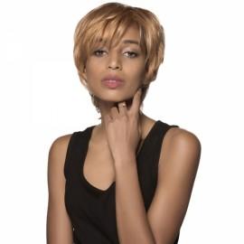 "5"" Virgin Remy Human Hair Full Net Cap Woman Short Hair Wig with Bang Golden Yellow"