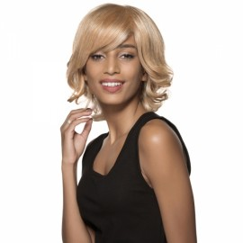 "11"" Virgin Remy Human Hair Full Net Cap Woman Short Curly Hair Wig with Bang Flax Yellow"