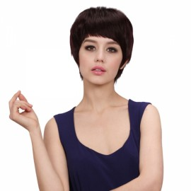 """8"""" New Straight Women Remy Human Hair Wig Chestnut Color MJ20"""