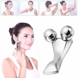 3D Y-shape Solar Micro Platinum Roller Face & Body Slimming Tightening Massager Silver