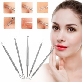 5Pcs Blackhead Remover Pimple Acne Tool Comedone Extractor Facial Cleaning Tools with 3X Zoom Flat Mirror