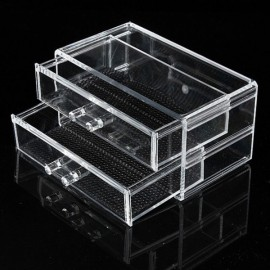 Clear Acrylic Drawer Cosmetic Makeup Storage Case Holder Organizer Transparent Size S 2-Layer 2-Drawer