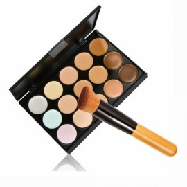 Pro 15 Colors Contour Face Cream Makeup Concealer Palette + Powder Brush