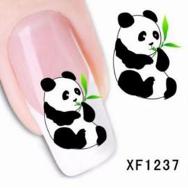 Colorful Stylish Panda Pattern Art Sticker Tips Decoration Manicure Nail Paste Nail Sticker Black & White & Green