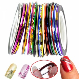 30pcs Colorful Manicure Painted Line Nail Sticker Roll Tape