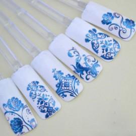 1 Sheet 108pcs 3D Flower Style Nail Art Stickers Blue