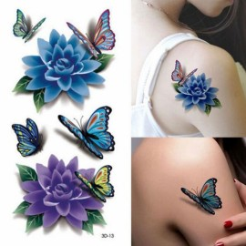 Sexy 3D Butterfly & Flower Style Temporary Tattoo Body Art Flash Tattoo Sticker Colorful
