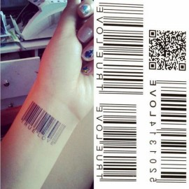 2D Barcode Pattern Waterproof Temporary Tattoo Sticker Body Art Sexy Tattoo