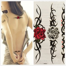 Waterproof Sexy Women Rose Totem Pattern Temporary Waist Tattoo Sticker