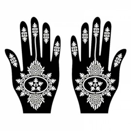 1 Pair India Henna Temporary Tattoo Stencils for Hand Leg Arm Feet Body Art Decal #33