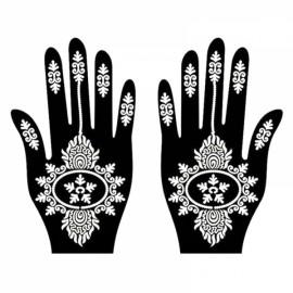 1 Pair India Henna Temporary Tattoo Stencils for Hand Leg Arm Feet Body Art Decal #33