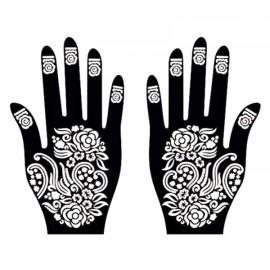 1 Pair India Henna Temporary Tattoo Stencils for Hand Leg Arm Feet Body Art Decal #10
