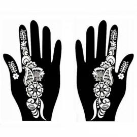 1 Pair India Henna Temporary Tattoo Stencil for Hand Leg Arm Feet Body Art Decal #28