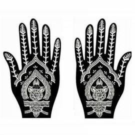 1 Pair India Henna Temporary Tattoo Stencil for Hand Leg Arm Feet Body Art Decal #24