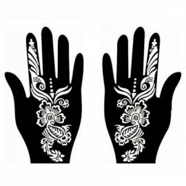 1 Pair India Henna Temporary Tattoo Stencil for Hand Leg Arm Feet Body Art Decal #29