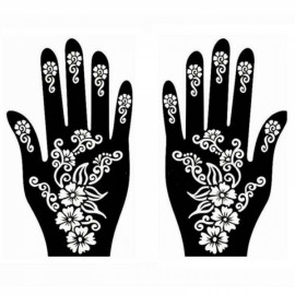 1 Pair India Henna Temporary Tattoo Stencils for Hand Leg Arm Feet Body Art Decal #35