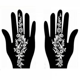 1 Pair India Henna Temporary Tattoo Stencil for Hand Leg Arm Feet Body Art Decal #22