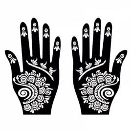 1 Pair India Henna Temporary Tattoo Stencils for Hand Leg Arm Feet Body Art Decal #8