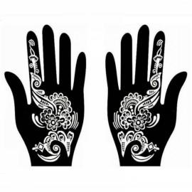 1 Pair India Henna Temporary Tattoo Stencil for Hand Leg Arm Feet Body Art Decal #21