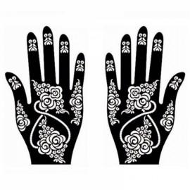 1 Pair India Henna Temporary Tattoo Stencils for Hand Leg Arm Feet Body Art Decal #16