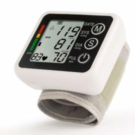 LCD Intellisense Mini Electronic Blood Pressure Monitor Digital Wrist Sphygmomanometer Without Voice White