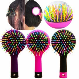 Rainbow Volume Anti-static Hair Massage Comb Brush Mirror Salon Tool Pink