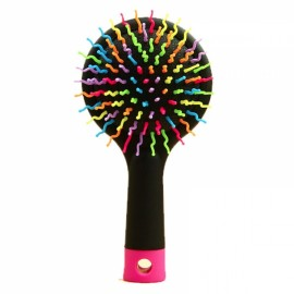 Rainbow Volume Anti-static Hair Massage Comb Brush Mirror Salon Tool Black