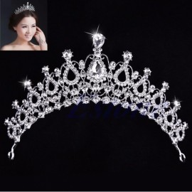 Bride Rhinestone Crystal Crown Tiara Princess Queen Wedding Bridal Party Prom Headpiece Hair Jewelry #02