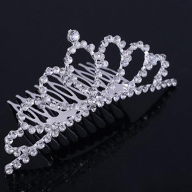 Rhinestone Bridal Wedding Princess Crown Tiara Hair Comb #01