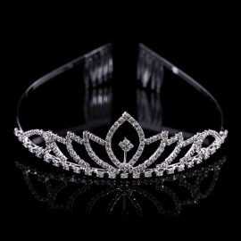 Bridal Wedding Princess Crystal Rhinestone Tiara Crown Headband Pageant Silver Plated Hair Comb #05