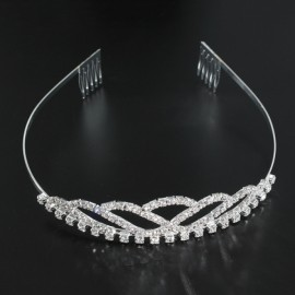 Bridal Wedding Princess Crystal Rhinestone Tiara Crown Headband Pageant Silver Plated Hair Comb #09