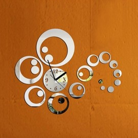 DIY Removable Clock Mirror Style Art Wall Stickers Home Decor - Silver
