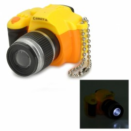 Camera Style LED White Flashlight Keychain w/ Sound Yellow & Orange & Multi-Colored